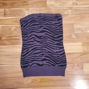 Express zebra strapless top